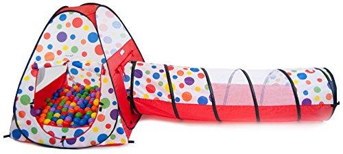 Easy Twist Polka Dot Teepee Pop-up Play Tent w/ Tunnel & ...
