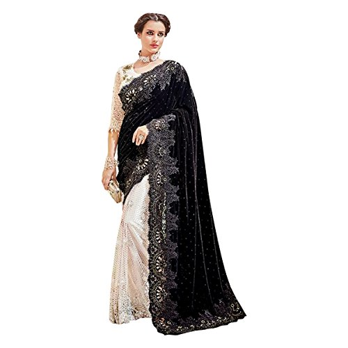 Nero ultima 615 nuziale camicetta Designer ricamo Designer Jari Sari tradizionale sposa festa Saree HrwHSqZ
