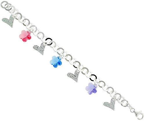 Sterling Silver Italian Charm Bracelet, w/ Hearts & Swarovski Crystal Flower Pendants, 3/4 inch (19 mm) wide