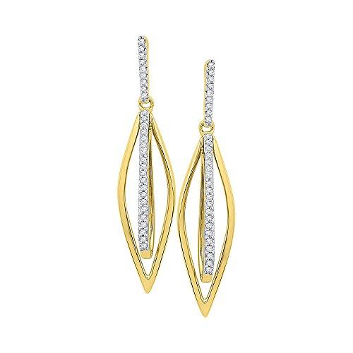 Roy Rose Jewelry 10K Yellow Gold Ladies Diamond Oblong Oval Stick Dangle Earrings 1/6 Carat tw