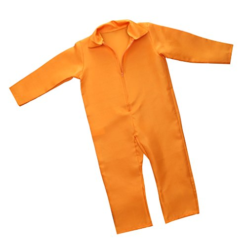 MonkeyJack Halloween Boys Prisoner Convict Costume Fancy Party Prison Overall Jumpsuit (Boys Prisoner Costume)