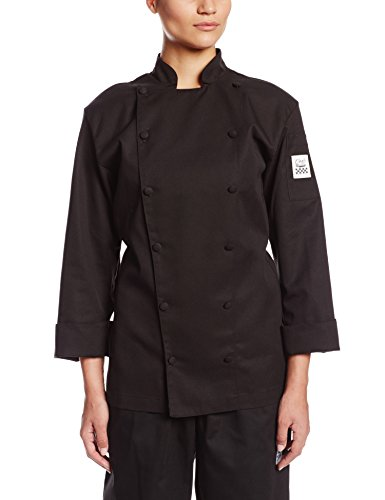 Chef Revival LJ025BK Chef-tex Poly Cotton Cuisinier Ladies Long Sleeve Jacket with Cloth Covered Button, X-Large, Black (Chef Revival Clothing)