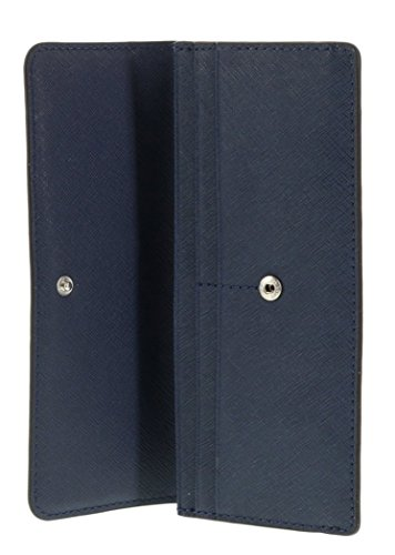 Michael Kors Jet Set Travel Saffiano Leather Flat Wallet (Navy)