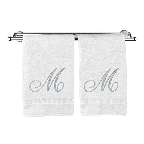 Monogrammed Hand Towel, Personalized Gift, 16 x 30 Inches - Set of 2 - Silver Embroidered Towel - Extra Absorbent 100% Turkish Cotton- Soft Terry Finish - For Bathroom, Kitchen and Spa- Script M White
