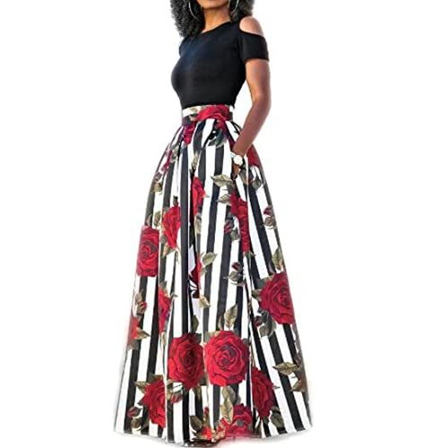 ARTFFEL-Women Stylish Short Sleeve Cold Shoulder Floral Party Maxi Dress free shipping