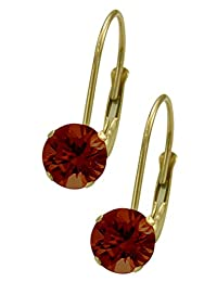 January 10K Yellow Gold 1.14tcw. 5mm Garnet Leverback Gem Earrings
