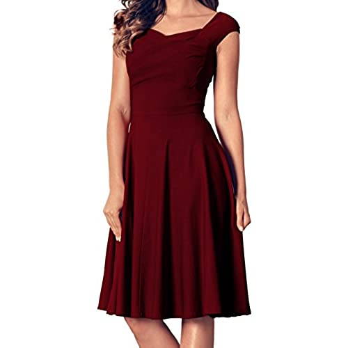 Angerella Womens Retro Vintage V Neck Dresses Casual Evening Party Dress