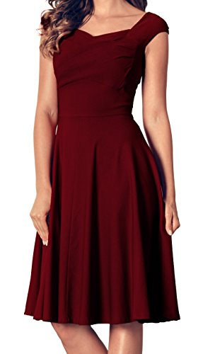 Red Fabulous Formal Evening Dress - Angerella Women's Retro Vintage V Neck Dresses Casual Evening Party Dress, Wine Red, Large