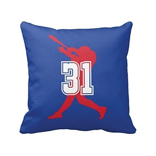 Baseball Throw Pillow Cover, Custom, Personalized, Jersey Number, White, Red, Blue, ANY COLOR, Gift for Sport Lovers, 16x16 -