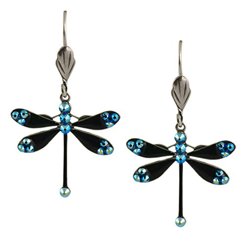 - Anne Koplik Dragonfly Earrings, Teal AB Silver Plated Swarovski Crystal Dangle