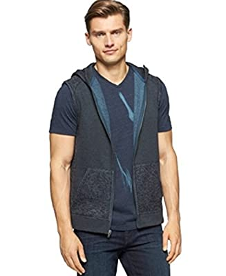 Calvin Klein Jean Melange Fleece Hoodie Vest Blue Small