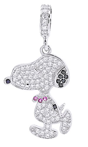 AFFY Jewelry Snoopy Charm Pendant Necklace White Gold Over Sterling Silver