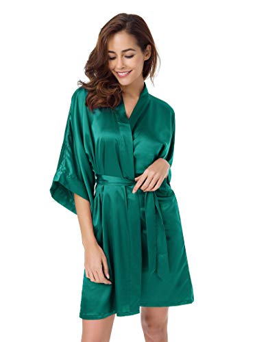 SIORO Women's Satin Robe,Silky Kimono Bathrobe for Bride Bridesmaids,Wedding Party Loungewear Short,Teal Green L