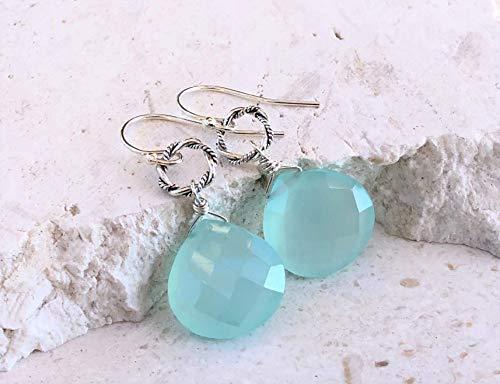 Aqua Blue Chalcedony Gemstone Sterling Silver Dangle Earrings - Jewelry Gift for Women