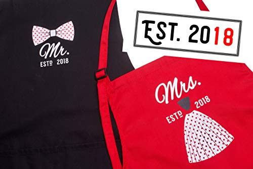 Mr Mrs Anniversary Gifts for Couple & Bridal Shower Gifts - Year 2018 - Man and Women 2 Piece Set - Perfect for Engagements, Weddings, Happy Anniversaries, Bridal Showers, Valentines Day]()