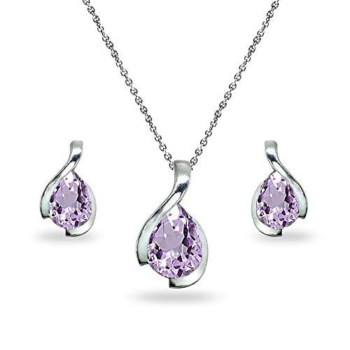 Sterling Silver Amethyst Pear-Cut Solitaire Teardrop Design Pendant Necklace & Stud Earrings Set ()