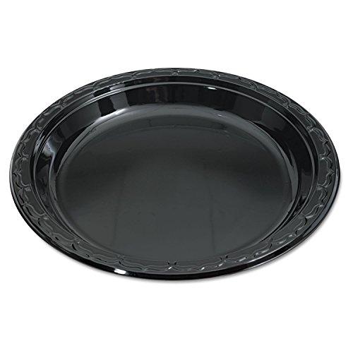 Silhouette Black Plastic Plates, 10 1/4 Inches, Round, Sold as 1 Carton by Genpak