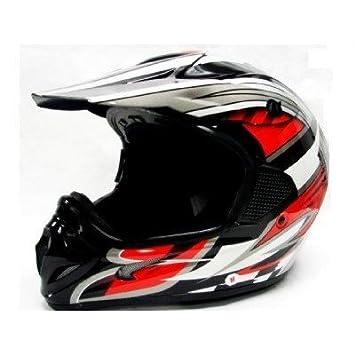 TMS - Casco de motocross, ATV o motocicleta, color rojo, negro