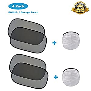 "Car Window Shade (4 Pack), KITBEST 20""x12"" Car Sun shade, Cling Baby Side Window Sun Protector, Glare and UV Rays Protection for Child, Car Sunshades Foldable Auto Sun Block"