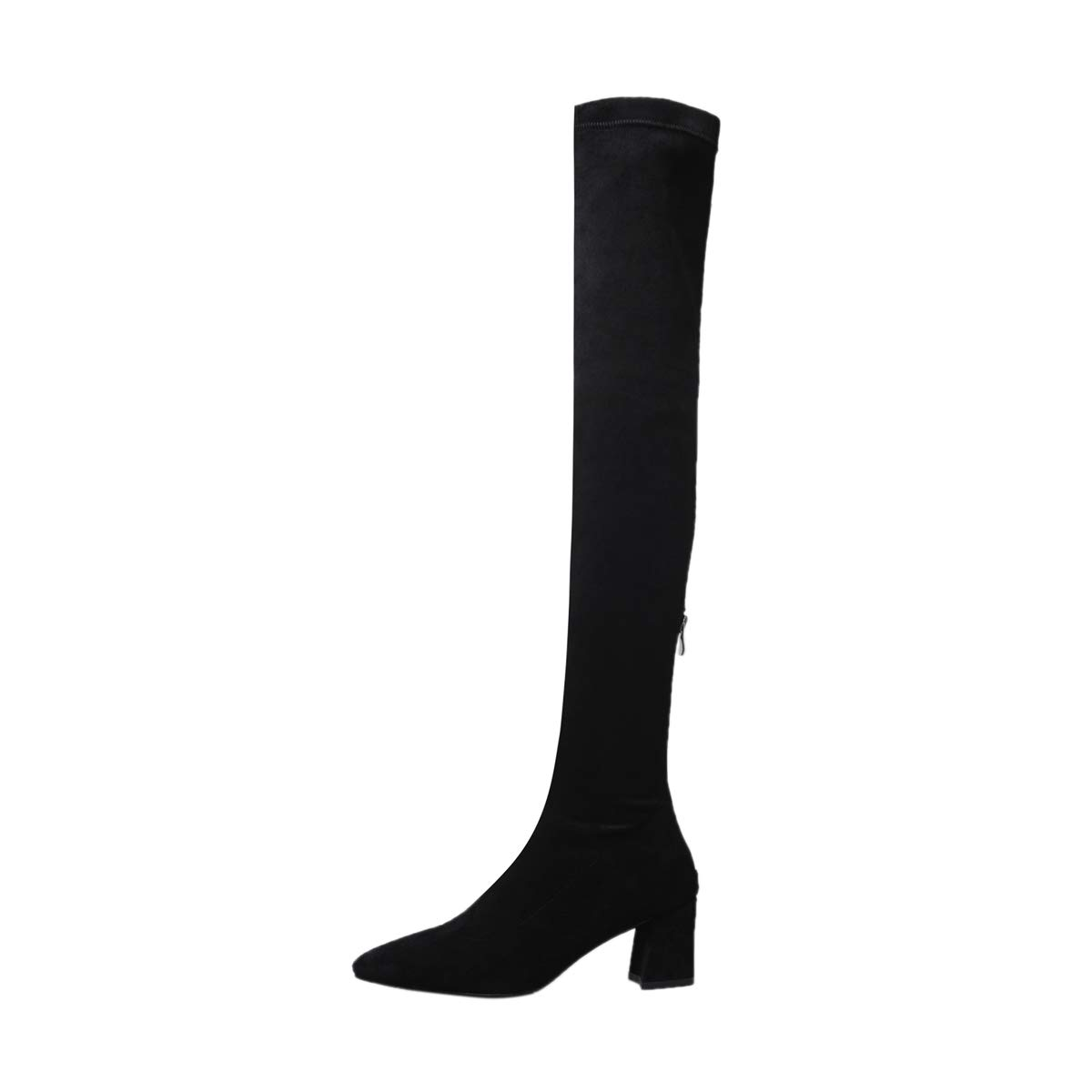 Black Dulce Diva Suede Leather Pointed Toe Chunky Heel Slip On Handmade Over-The-Knee Boots for Women Sexy