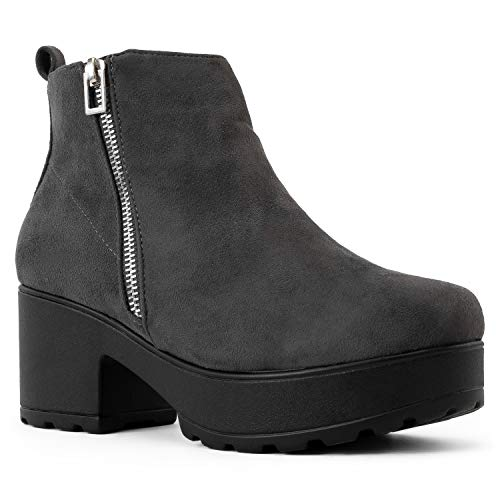 RF ROOM OF FASHION Women's Vegan Round Toe Light Weight Stacked Heel Platform Side Zipper Ankle Booties Boots Grey Faux Suede