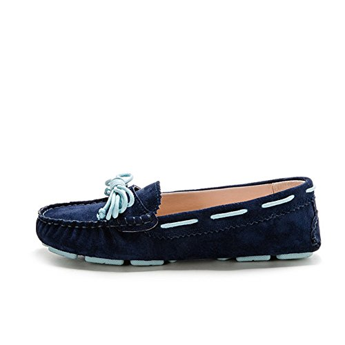 Women's Kilty Suede Moccasin Flat Loafers Tie Bow Driving Walk Boat Shoes