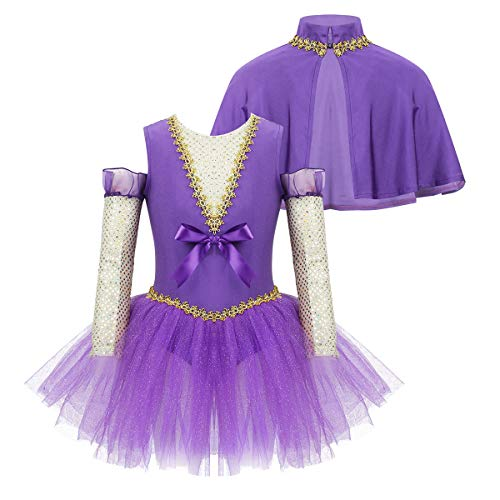moily Baby Girls Circus Show Trapeze Costume V Neck Tank Leotard with Mesh Glove Halloween Outfit Purple 3 Pcs 8
