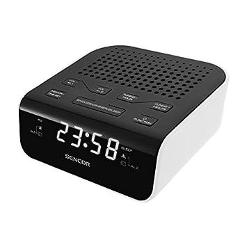 Sencor SRC 136 WH Reloj Digital Negro, Color Blanco - Radio (Reloj, Digital