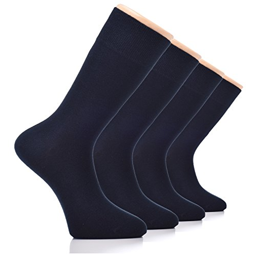 HUGH UGOLI Men's Dress Crew Socks Seamless Bamboo Business Casual 4 Pack
