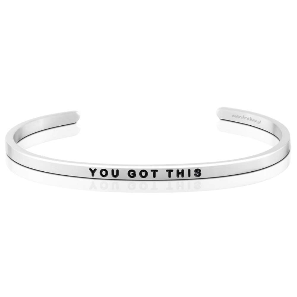 MantraBand Bracelet - You Got This - Inspirational Engraved Adjustable Mantra Band Cuff Bracelet - Silver - Gifts for Women (Grey) by MantraBand