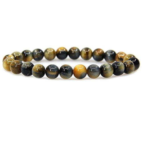 Natural Golden Blue Tiger Eye Gemstone 8mm Round Beads Stretch Bracelet 7