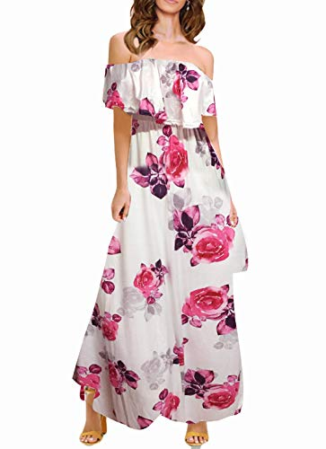 (MIDOSOO Womens Side Slit Off Shoulder Dress Ruffled Long Printed Foral Maxi Dress with Pockets)