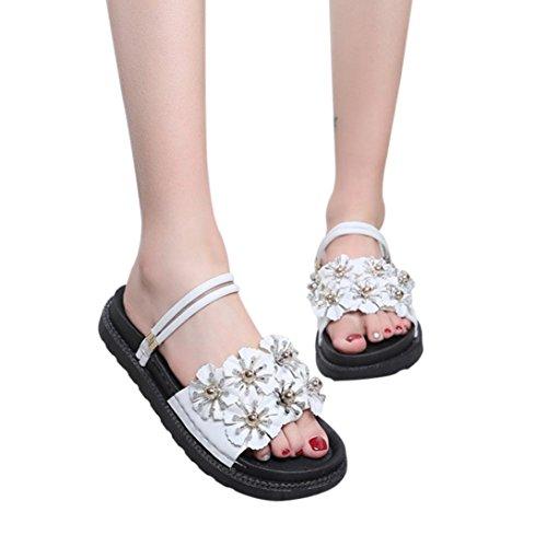 FORUU Women Fashion Solid Color Flower Flat Heel Sandals Slipper Beach Shoes (36, White) by FORUU womens shoes
