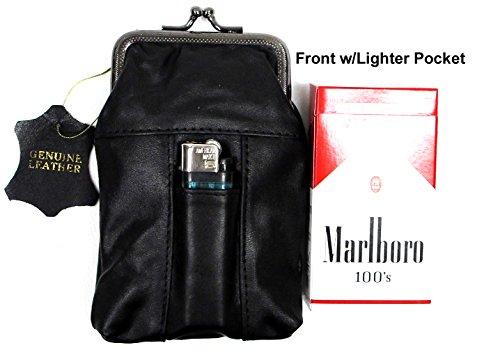 2pc Lot Unisex Soft Leather Cigarette Case Pouch Fit 100's 100mm 84s with Ligher Pocket - (Frame Cigarette Case)