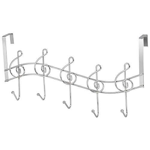 TOOGOO Chrome Swirl 5 Hook Over The Door Coat Hanger Musical Treble Clef Music