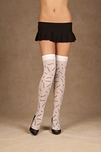 Opaque Thigh Highs With Stitches Print (As Shown;One Size) -