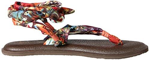 Sanuk Yoga - Sandalias con tiras elevadas con estampado floral para mujeres color negro Coral Peacock