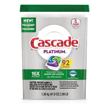 Cascade Platinum ActionPacs Dishwasher Detergent, Fresh (92 ct.)