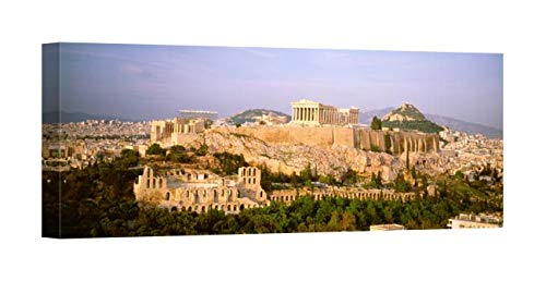 Acropolis Greece View Athens - Easy Art Prints Panoramic Images's 'High Angle View of Buildings in a City, Acropolis, Athens, Greece' Premium Canvas Art 40 x 15