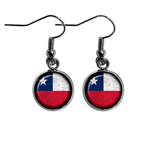Goodnight cat Chile Chilean Flag Earrings Dome Glass Ornaments, Pure Hand-Made, Personalized Earrings