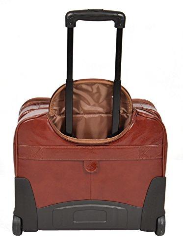 5232a541b5 Amazon.com | Real Leather Pilot Case Travel Laptop Bag on Wheels Telescopic  Handle HOL15 Cognac | Luggage & Travel Gear