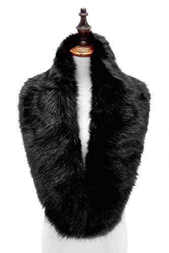 Changuan Extra Large Women's Faux Fur Collar Shawl Wraps Stole Cloak Evening Cape for Winter Coat Black 125cm