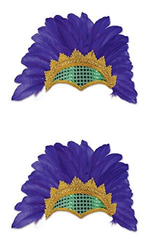Mardi Gras Feather Headpiece (Beistle 60058 2Piece Feathered Showgirl Headpieces, , Purple/Gold/Green)