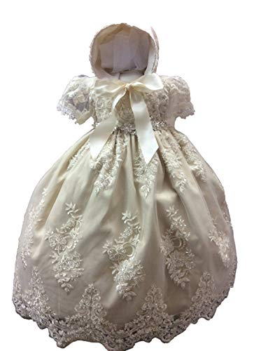 - Faithclover Christening Baptism Dresses Baby Girls Floral Beaded Lace Gowns Outs with Bonnet