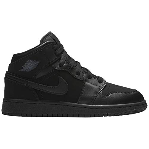 premium selection e0f33 d010d Nike Jordan Mens Air Jordan 1 Mid Leather Synthetic Black Dark Grey  Trainers 10.5 US