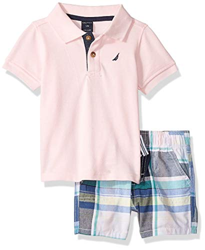 (Nautica Sets (KHQ) Baby Boys 2 Pieces Polo Shorts Set, Pink/Plaid, 24M)