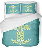 Emvency 3 Piece Duvet Cover Set Breathable Brushed Microfiber Fabric Hand Lettering Hope is Anchor for The Soul on Blue Christian Bible Verse Bedding Set with 2 Pillow Covers Full/Queen Size