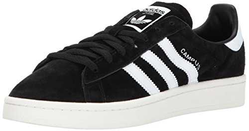 adidas Originals Men's Campus Sneakers, Black/White/chalk White, (10.5 M US) (Black Adidas Sneakers)
