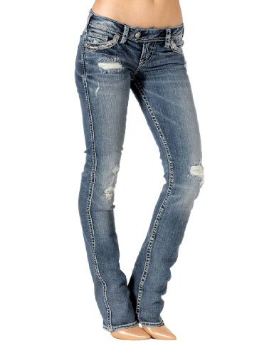 Silver Jeans Juniors Tuesday Low Rise Baby Bootcut Jean, Indigo, 26x33