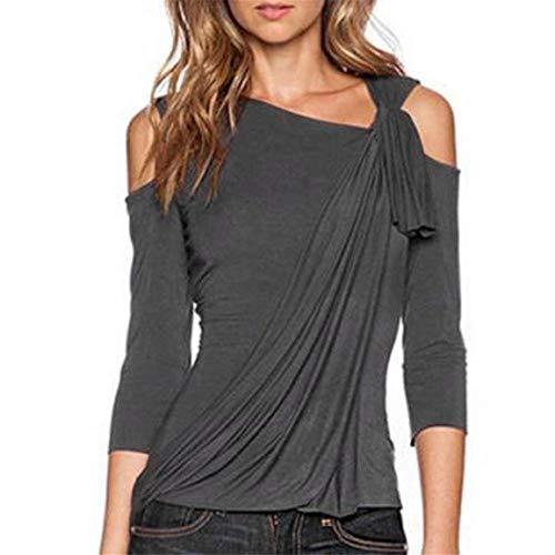 Manches 4 Tops Shoulder Haut 3 Asymmetric Bouffant Off Top Casual Shirts Splicing lgant Grau Automne Tshirt Unicolore Femme Tunique qqFY8S